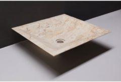 Creme witte Waskom Forzalaqua Milano Travertin Gezoet 45x45x12 cm