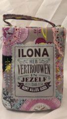 History&heraldy Shopper bag dames met leuke tekst ILONA HEB VERTROUWEN IN JEZELF DAN KOMT ALLES GOED winkeltasje Wordt geleverd in cellofaan met linten