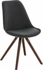 Luxe Comfort Bezoekersstoel - Stof - Hout - Walnoot - Donker Grijs