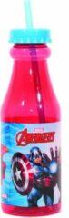 GeBoWeb Giovas Drinkbeker Met Rietje Avengers Glas Rood/lichtblauw 500 Ml