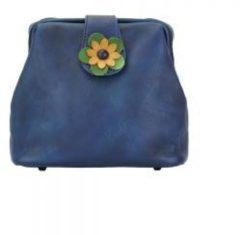 San Lorenzo Firenze Borsetta Fiore a tracolla Blu scuro Made in Italy produzione di pelletteria toscana