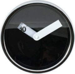 Wandklok TIQ design chrome diameter 200mm zwart