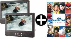 Grijze Difrnce PDVD-9010 - Portable DVD speler - Twin - Sony Filmbox - 10 Kinderfilms (Smurfen, Angry Birds, Pieter Konijn, Stuart Little + meer)