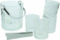 Transparante Orange85 Whiskey Set - Met IJsemmer en 4 Glazen - Kristal Look - Sierlijk - Whisky - Tang