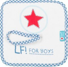 Lief ! - LF! For Boys - Speendoekje/ knuffeldoekje - Wit met blauw - 23 x 23 CM