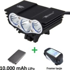 Zwarte SolarStorm X3 set - USB MTB/race LED koplamp EXTREEM veel licht met 3x CREE T6 LED - met 10.000 mAh LiPo Powerbank en handig frametasje
