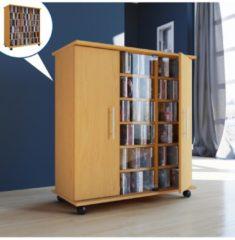 Regal DVD CD Rack Medienregal Medienschrank Aufbewahrung rollbar Standregal mobil Möbel Bluray VCM Sonoma-Eiche (Sägerau)