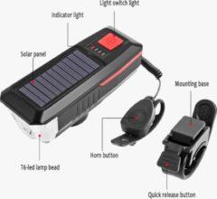 BikerVibes - Fietsverlichting USB Oplaadbaar – Voorlamp Fiets - Zaklamp - Solar – Voorlicht – LED - Waterdicht - Fietslampje - 250 Lumen - Zwart/groen