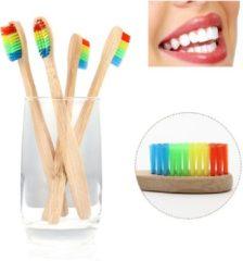 Bruine BTB products Bamboe Tandenborstel | Regenboog | 4 Stuks | Recyclebaar en Biologisch Afbreekbaar | Zacht / Medium | Voor Gevoelig Tandvlees