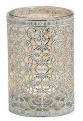 Merkloos / Sans marque Waxinelicht/theelicht houder zilver antiek 12 cm - Woonaccessoires/woondecoraties kaarsenhouders