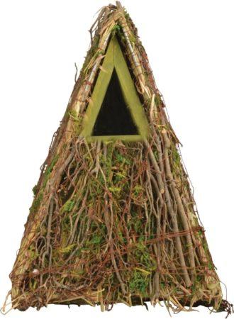 Afbeelding van Houten vogelhuisje/nestkastje groene takjes/mos 24 cm - Tuindecoratie vogelnest nestkast vogelhuisjes