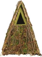 Houten vogelhuisje/nestkastje groene takjes/mos 24 cm - Tuindecoratie vogelnest nestkast vogelhuisjes