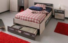 Bett 90 x 200 cm mit Nako Esche/ grau mit Aufschrift Parisot Fabric