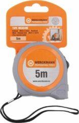 Oranje Wreckmann Rolbandmaat 5meter Auto-lock Werckmann