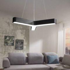 Wohnling LED-Pendelleuchte Y-FORM Matt schwarz Metall EEK A+ Büro-Deckenlampe 36 Watt 80 x 107 x 80 cm Design Arbeitsplatz Hängelampe 3060 Lumen kalt