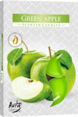Bispol Aura - Geur Theelichtjes / Geurkaarsen / Waxinelichtjes / Scented Candles - groen Apple - Appel geur - 1 doosje met 6 waxinelichtjes