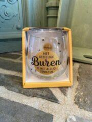 Gouden Creaties van hier Wijn - water glas / Met gezellige buren is het altijd genieten / wijnglas / waterglas / leuke tekst / moederdag / vaderdag / verjaardag / cadeau