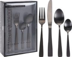 Zwarte Excellent Houseware Bestekset - 16-delig - Mat Zwart - 4 Persoons