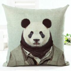 Groene River of Things Kussenhoes Panda gentleman decoratieve kussensloop /sierkussenhoes 45x45
