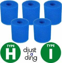 Blauwe 5 x Type H / I Filter Zwembad Herbruikbaar - Geschikt als Zwembadfilter Intex of Bestway - Zwembad Onderhoud Filtercartridge - Djust A Ding