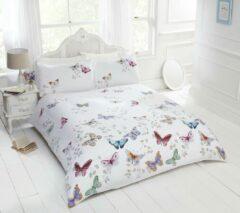All4kidsshop Vlinder dekbedovertrek - bonte vlinders op witte ondergrond - eenpersoons maat met 1 kussensloop