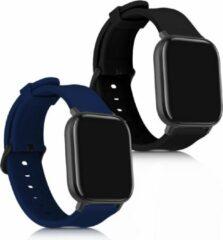 Kwmobile 2x horlogeband voor Xiaomi Huami Amazfit GTS / GTS 2 - siliconen band voor fitnesstracker - zwart / donkerblauw