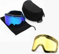 Groene Improducts Skibril met magnetische lens spiegel Magic Bleu frame donker blauw Y type 3 Cat. 1 tot 4 - ☀/☁