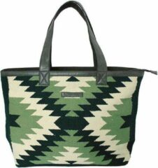 Groene Indigo Mae Zora leuke grote XL strandtas met rits | shopper | biologisch katoen | handgemaakt | vegan leer | aztec