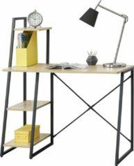 En.casa Bureau Aalborg met 3 planken 102x50x117 cm zwart en eiken