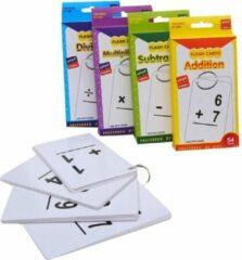 Roze ZaCia Educatief Kaartspel - Leerspel - Leren Rekenen - Educatieve Kaartspellen -Flashkaart - Geheugenkaart - Flitskaart met Ring- 4 Stuks - Optellen - Aftrekken - Delen - Vermenigvuldigen