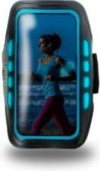 Blauwe Azuri sport armband met LED verlichting - zwart