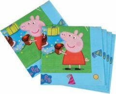 40x Peppa Pig Themafeest Kinderfeestje Servetten 33 X 33 Cm - Thema Feest Servetten - Papieren Wegwerpservetten 3-laags