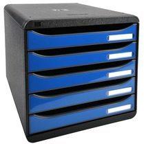 Exacompta Big-Box Ladenkastje 5 lades Big Box Plus Zwart blauw A4 27 8 x 34 7 x 27 1 cm
