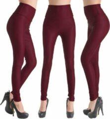 Bordeauxrode Merkloos / Sans marque Leather Look Legging – Maat M – Burgundy