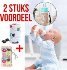 Allernieuwste 2 STUKS USB Baby Fles Warmer Donuts + Auto's - 2 Modellen - Heater - Reisaccessoire - Draagbaar - Klittenband - Kleur