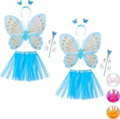Blauwe Relaxdays 2 x fee kostuum kinderen - vlindervleugels - kinderkostuum - toverstaf – diadeem