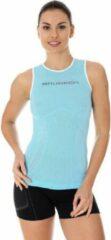 Brubeck Dames Sportkleding - 3D PRO Hardloopshirt / Sportshirt Mouwloos - Naadloos - Lichtblauw - L