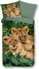 Beige Kinder Dekbedovertrek Leuke Kinder Katoen Dekbedovertrek Eenpersoons Little Lions | 140x200/220 | Fijn Geweven | Zacht En Huidvriendelijk