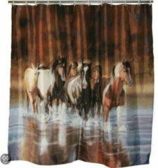Bruine Rivers Douche gordijn paarden