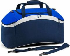 Marineblauwe Bagbase Teamwear sporttas, Kleur French Navy/ Bright Royal/ White