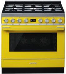 Smeg CPF9GMYWNLK gasfornuis geel met krachtige wokbrander en Vapor Clean reiniging