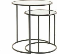 Set van 2 Glazen Bijzettafels-Rond -Zwart Housevitamin