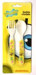 Gele Nickelodeon Babybestek / kinderbestek Spongebob 14 cm - lepel en vork