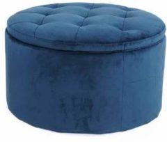 Lisomme poef Elin - Fluweel - Ø60 x H35 cm - Donkerblauw