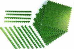 Zwembadtegel ondergrond van WDMT™ | 40 x 40 x 1 cm | 6-delige ondervoer voor zwembaden met gras motief | Vloermat eenvoudig te bevestigen en reinigen | grasprint | Groen