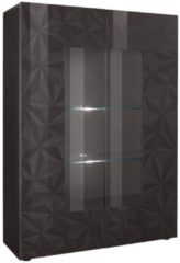 Pesaro Mobilia Vitrinekast Kristal 166 cm hoog in hoogglans antraciet