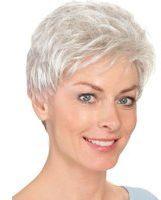 Licht-grijze Pruik 'Ellen' Lofty lichtgrijs, donkerder in de nek