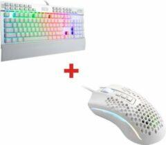 Witte Redragon Yama K550W RGB Gaming Toetsenbord + Redragon Honeycomb Storm M808W Gaming Muis | Exclusieve set | Hoogwaardig kwaliteit | Gaming set toetsenbord en muis | Ergonomisch&Duurzaam design |Silent keys | Gaming pakket | Tweehandige muis |Cadeauti