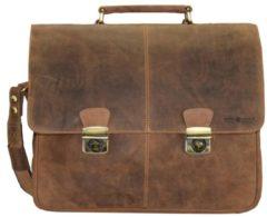 Vintage Aktentasche Leder 42 cm Laptopfach Greenburry braun