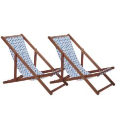 Beliani Strandstoel set van 2 acaciahout stof donkerbruin/blauw ANZIO